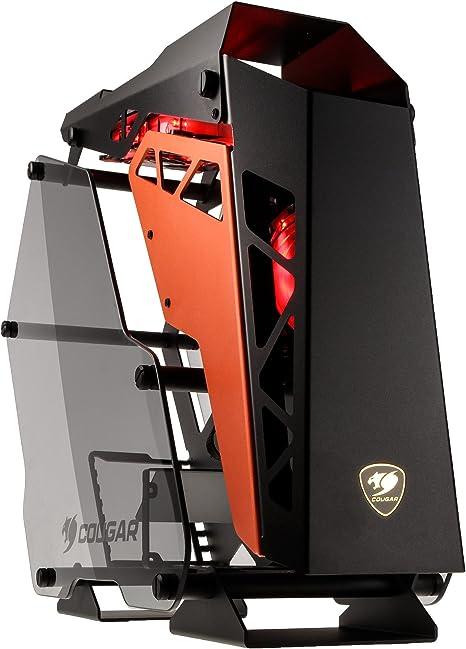 COUGAR Gaming Conquer Midi-Tower Negro, Naranja - Caja de Ordenador (Midi-Tower, PC, Aluminio, Vidrio Templado, Negro, Naranja, ATX,Micro ATX,Mini-ITX, Juego): Amazon.es: Informática