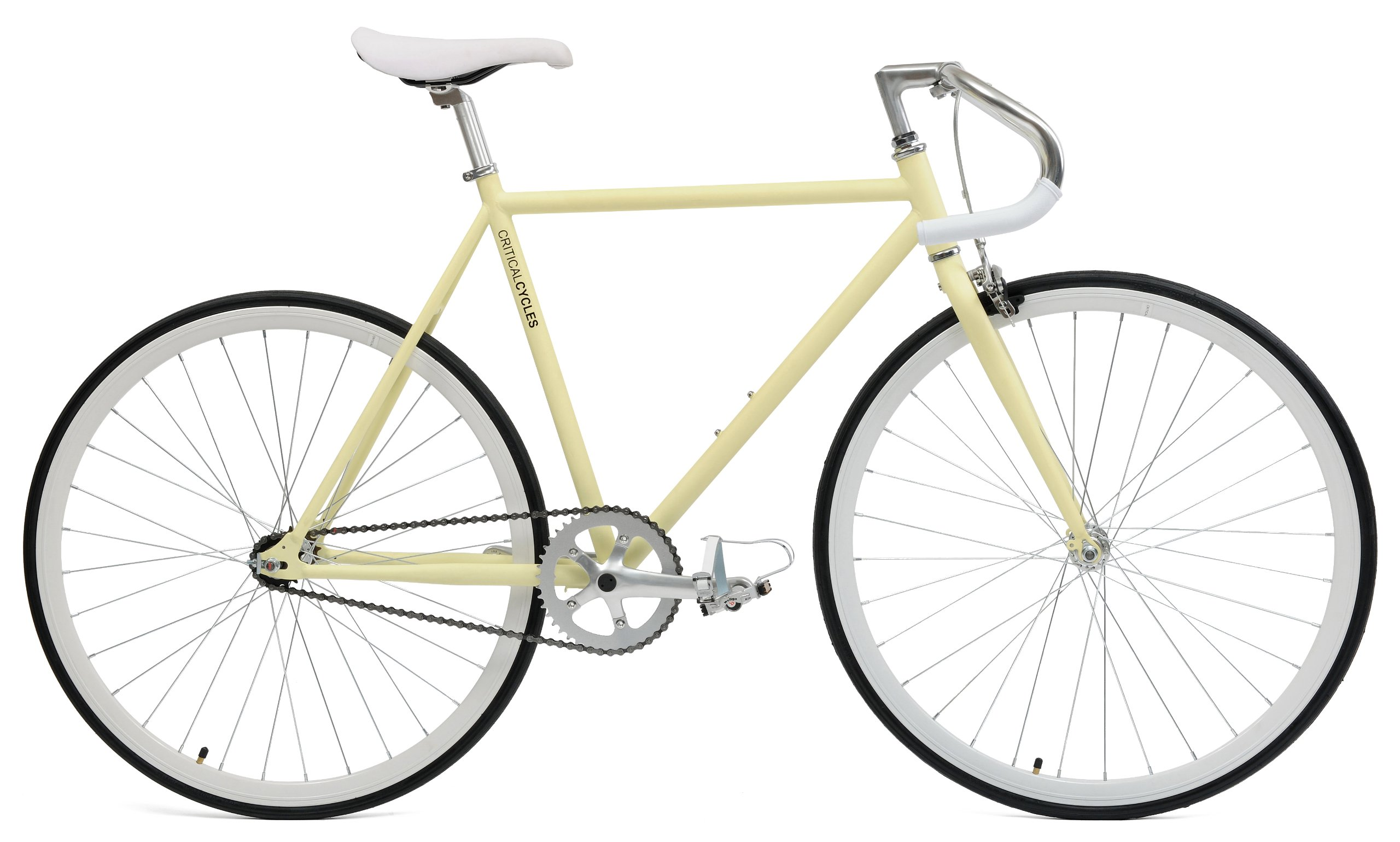 Critical Cycles Classic Fixed-Gear Single-Speed Bike with Pista Drop Bars, Cream