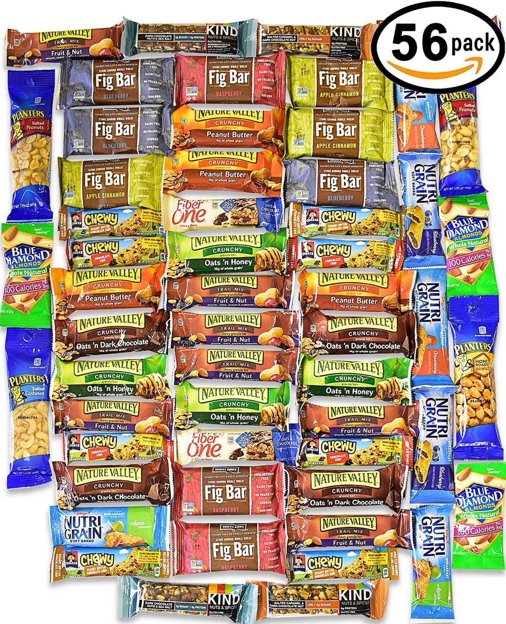 Healthy Snacks and Bars Variety Pack Gift Snack Box - Bulk Sampler (Care Package 56 Count) by Blue Ribbon