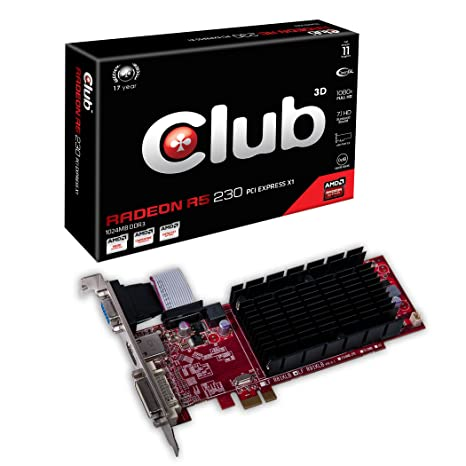 CLUB3D Radeon R5 230 - Tarjeta gráfica de 1 GB (Radeon R5 230, GDDR3, 4096 x 3112, VGA, DVI-D, HDMI)