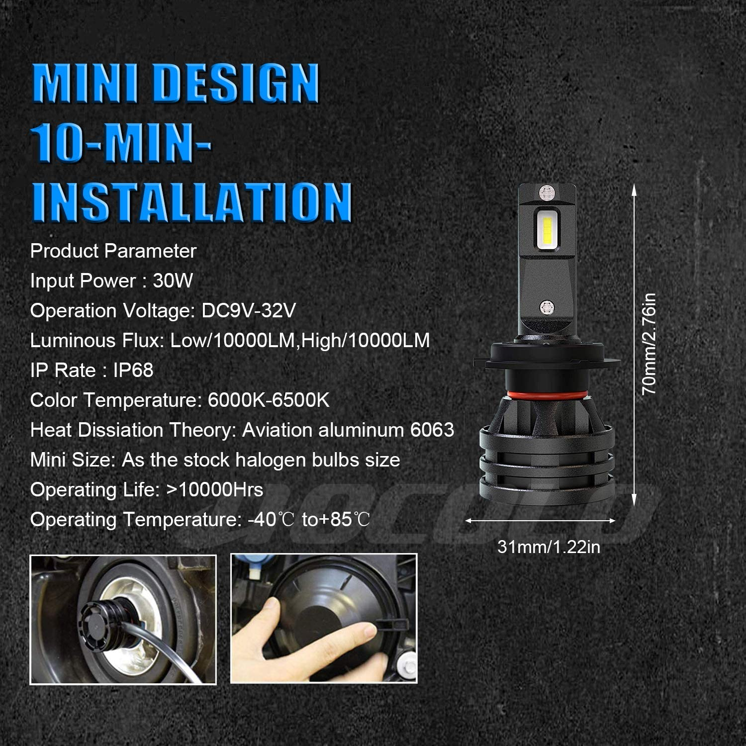 M2 Type-10000Lumen//Set White 6000K, HOCOLO/_H7/_Fog//Low Beam HOCOLO H7-LED Headlight Bulbs Mini Size 10,000 Lumens Extremely Bright All-in-One Conversion Kit 6000K Cool White-1 Year Warranty