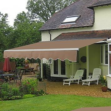 ZENY Retractable DIY Patio Deck Awning Sunshade Shelter Balcony Canopy Decorative Beige & ZENY Retractable DIY Patio Deck Awning Sunshade Shelter Balcony ...
