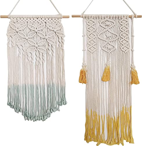 TISOSO 2 Pcs Boho Macrame Wall Hanging Handmade Bohemian Cotton Tassel Woven Tapestry Wedding Decorations Home Decor for Bedroom, Living Room, Kid s Room 13.7 L x 33.2 W and 15.6 L x 25.8 W
