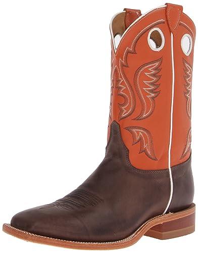 Amazon.com | Justin Men's Burnished Orange Cowboy Boot Square Toe ...