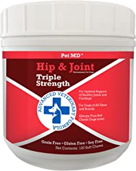 Pet MD Hip and Joint Supplement for Dogs Triple Strength Glucosamine, Chondroitin, MSM - Hypoallergenic and Grain Free Soft Chews