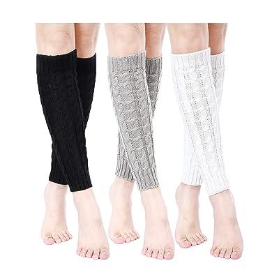 3 Pairs Women Cable Knit Leg Warmers Winter Knee High Crochet Sleeve Leg Warmers Long Socks: Clothing
