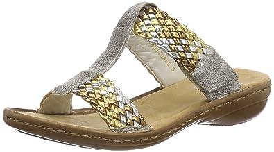 Rieker Damen 608P5 Pantoletten, Mehrfarbig (Gold-Silber/Altsilber), 39 EU