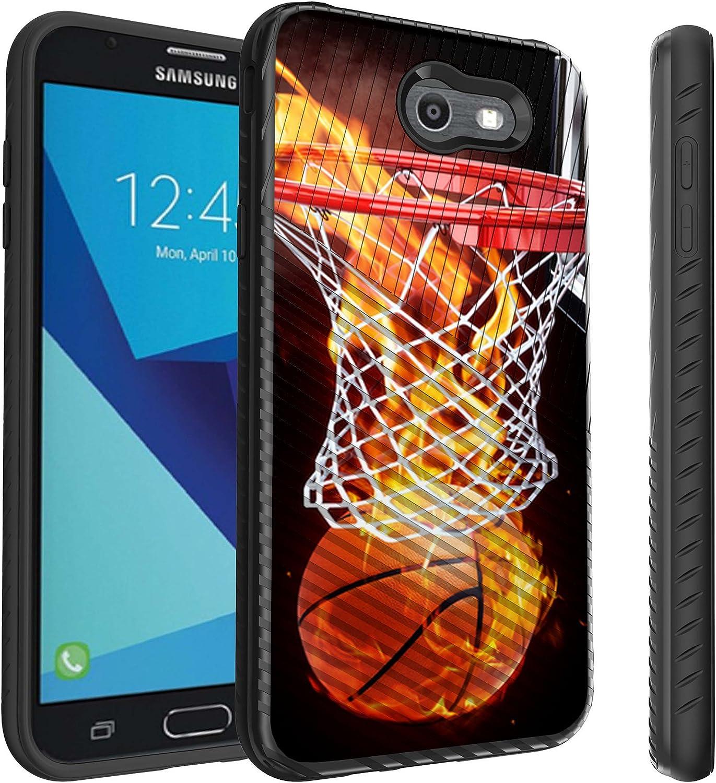 Untouchble Case for Samsung Galaxy J7 Perx, J7 Sky Pro, J7 V, J7 (2017) [Stripe Force] Combat Shockproof Two Layer Flexible TPU Bumper Cover - Basketball Fire