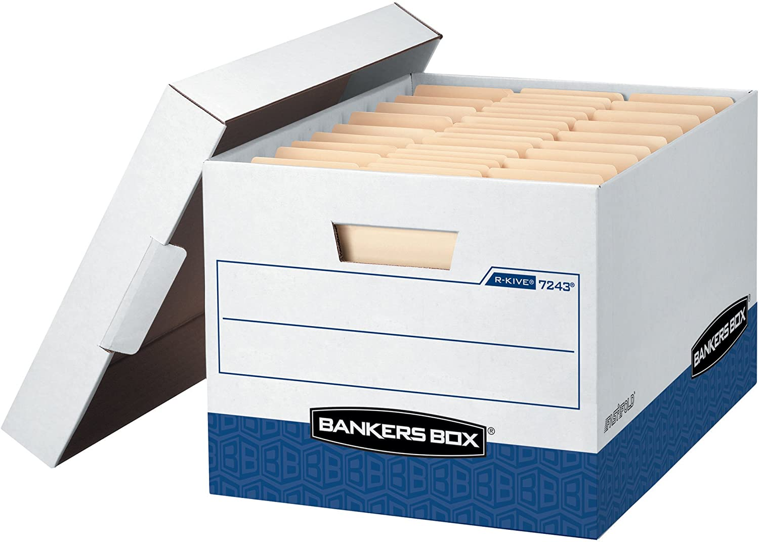Bankers Box R-Kive Heavy-Duty Storage Boxes, FastFold, Lift-Off Lid, Letter/Legal, Case of 12 (07243)