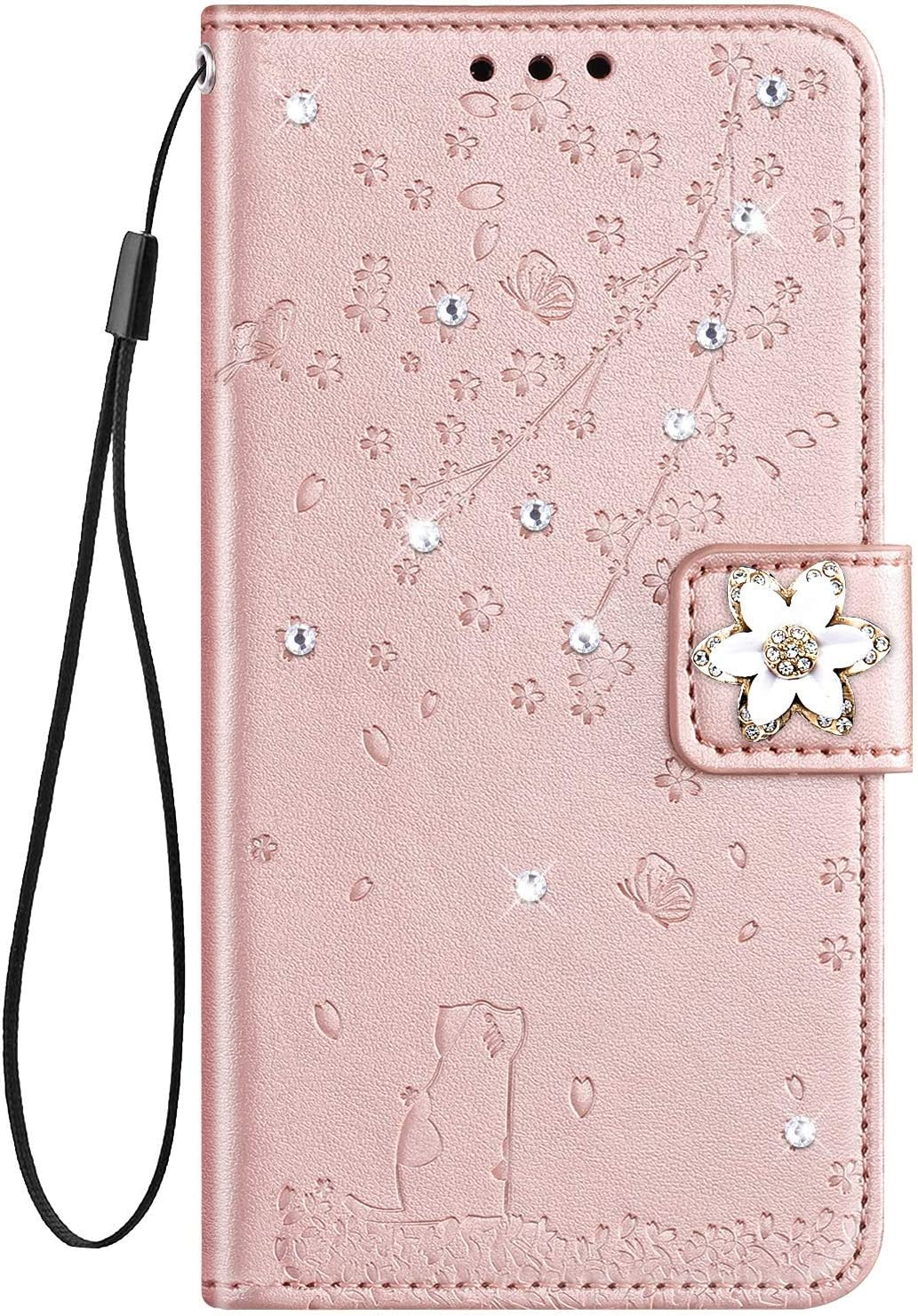 IKASEFU Compatible with Samsung Galaxy A20//A30 Case Cute Cat Cherry Blossoms Rhinestone Pu Leather Glitter Diamond Wallet Strap Case with Card Holder Magnetic Flip Cover Blue