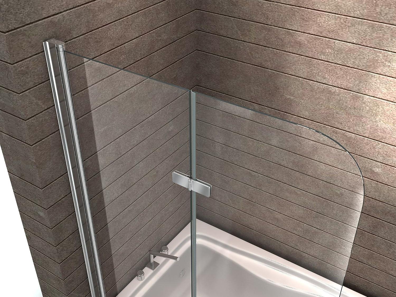Duschabtrennung glas badewanne  Echt Glas 6 mm Duschabtrennung Duschwand Faltwand Badewanne 120 x ...