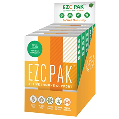 EZC Active Pak Immune Support, Echinacea, Zinc and Vitamin C, 10 Gluten-Free Vegetarian Capsules, Physician-Designed Immune Boosting Supplements 6 Pack
