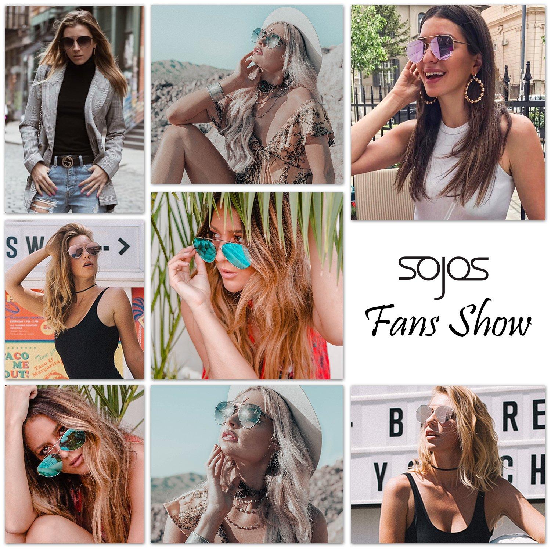 SOJOS Vogue Occhiali da Sole Uomo e Donna Oversized Vintage Retro Specchiati Moda Nuovo Unisex SJ1083