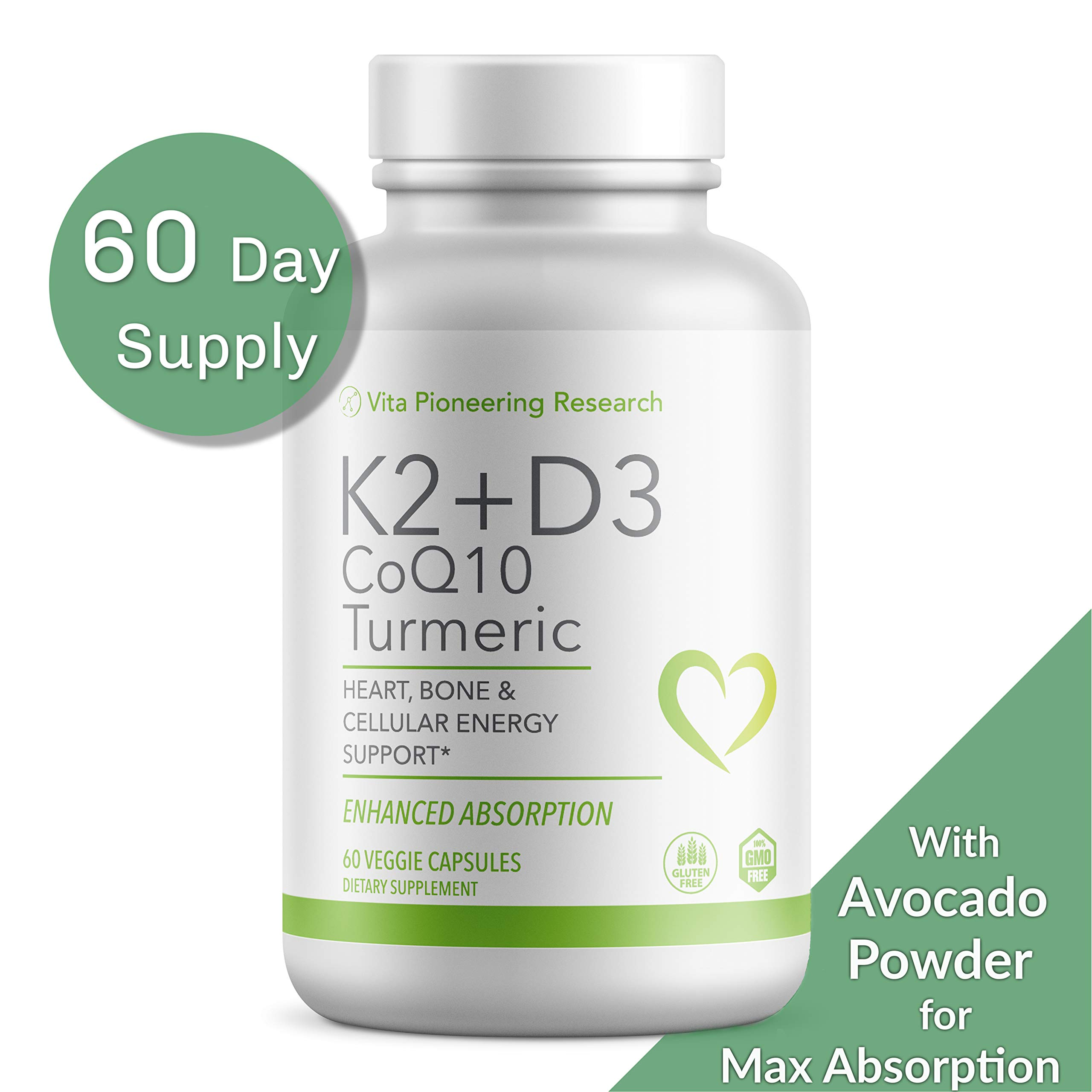 Vitamin D3 2000IU and K2 with Turmeric and COQ10 - Heart, Bone, Cellular Health Support with 10mg Avocado Powder for Better Absorption and Bio-Availability - Non-GMO and Gluten-Free - Two Month Supply