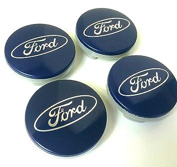 Juego de 4 tapas de Ford Llantas Mediados De Buje 54 mm protectora Blue Plata Logo