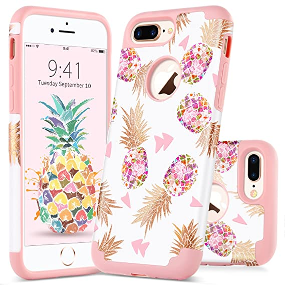 sports shoes 2367e f1143 GUAGUA iPhone 7 Plus Case iPhone 8 Plus Case Colorful Pineapple Slim Hybrid  Hard PC Soft Silicone Anti-Slip Shockproof Protective Case for iPhone 7 ...