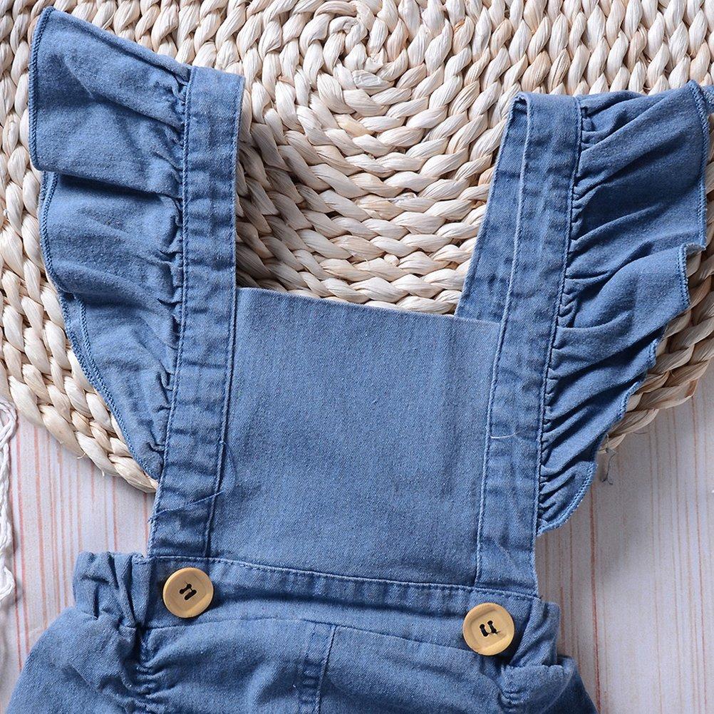 Zhuhaitf Kids Girl Denim Jumpsuit Summer Clothes Four Corner Bodysuit Baby Romper