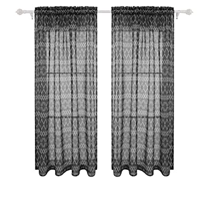 Deconovo Sheer Curtains Rod Pocket Sheer Window Curtains Trellis Printed Sheer Curtain For Living Room 52w X 63l Inch Black 2 Panels