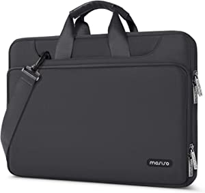 MOSISO 360 Protective Laptop Shoulder Bag Compatible with 13-13.3 inch MacBook Air, MacBook Pro, 13.5 Surface Laptop, Surface Book, Water Repellent Sleeve Case with Trolley Belt, Space Gray
