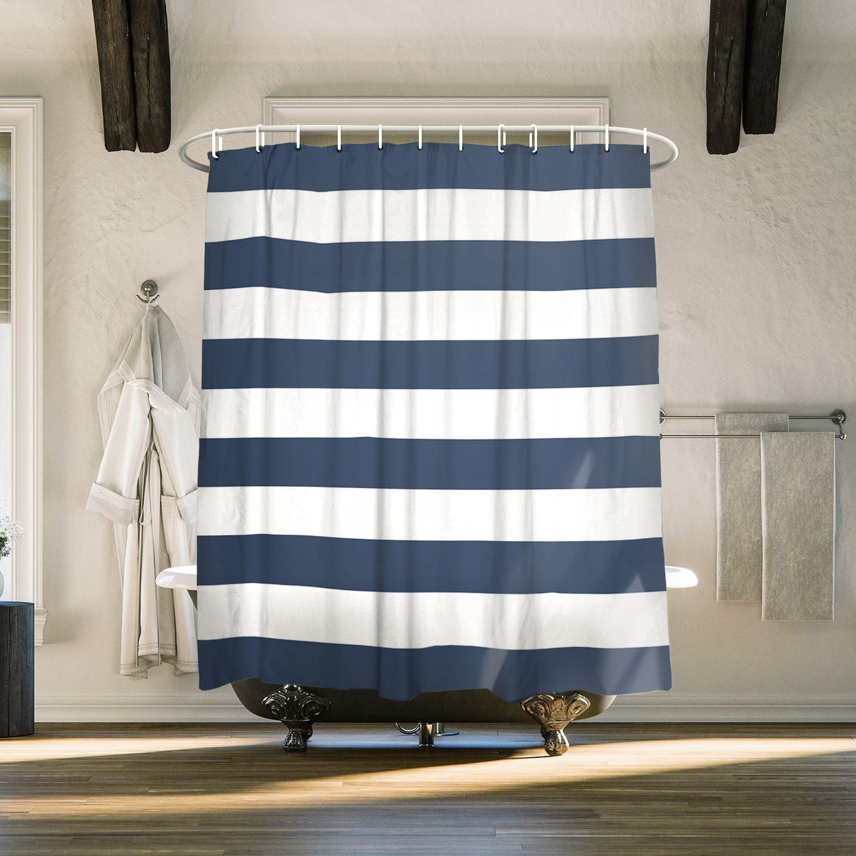 Amazoncom Fabric Shower Curtain Nautical Stripe Design (Navy And White)
