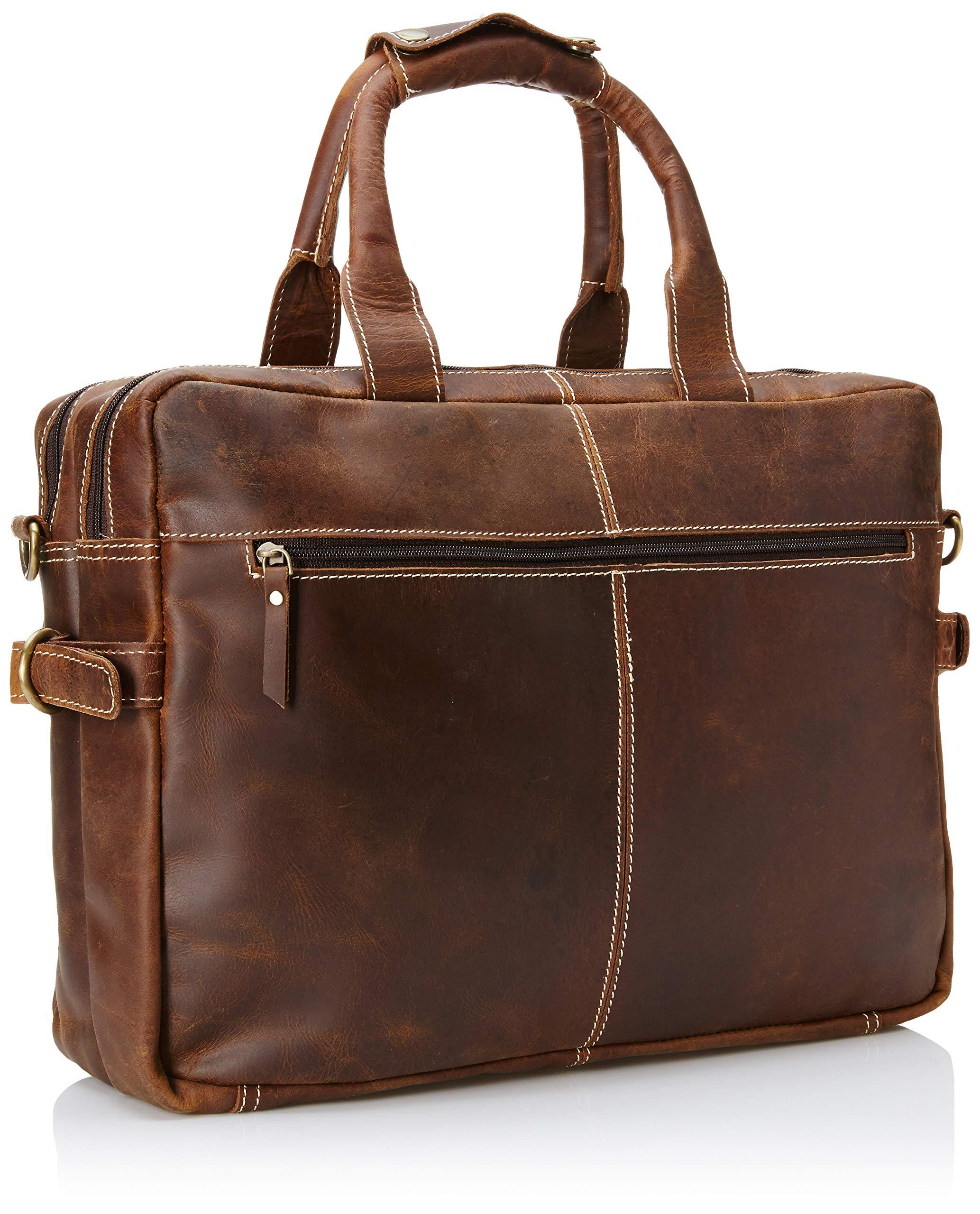 16 inch Vintage Buffalo Leather Messenger Satchel Laptop Briefcase Men's Bag Crazy Vintage Leather Messenger (Brown) by Ruzioon (Image #2)