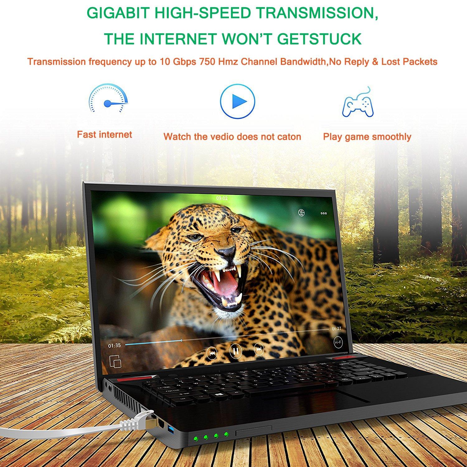 Piatto JONI FUN 2 x Cavo di Rete Ethernet Cat 7 Cavetto LAN RJ45 Patch Alta Velocit/¨/¤ S//STP 10 Gbps 750MHz Rame Intrecciato 5FT//1.5M