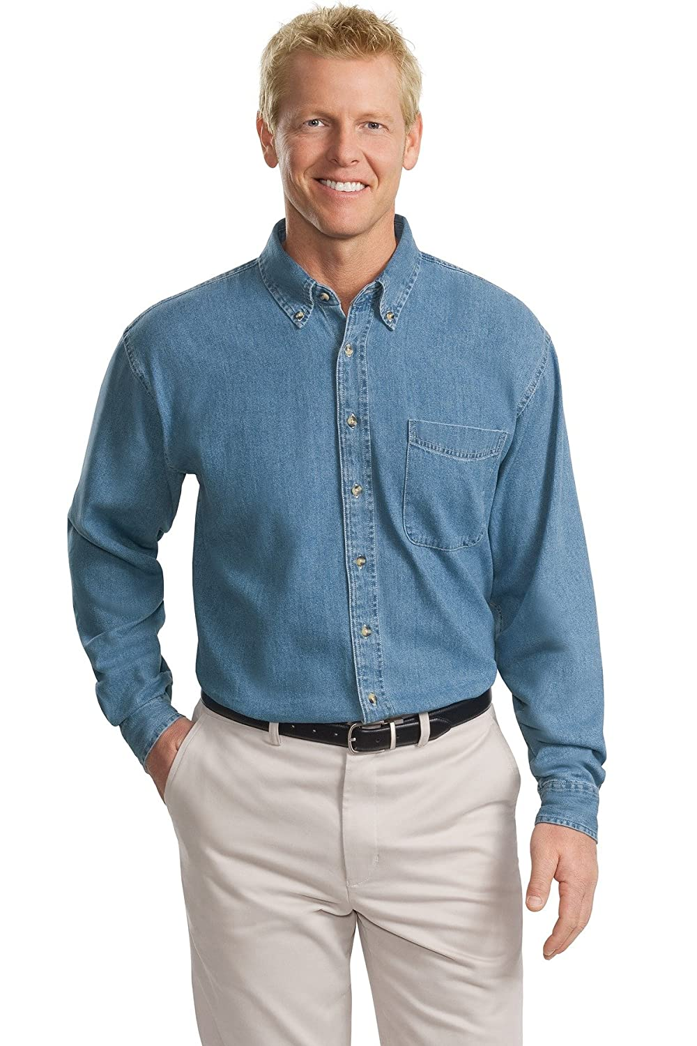 1c041b5d43 Port Authority Men s Tall Long Sleeve Denim Shirt at Amazon Men s Clothing  store