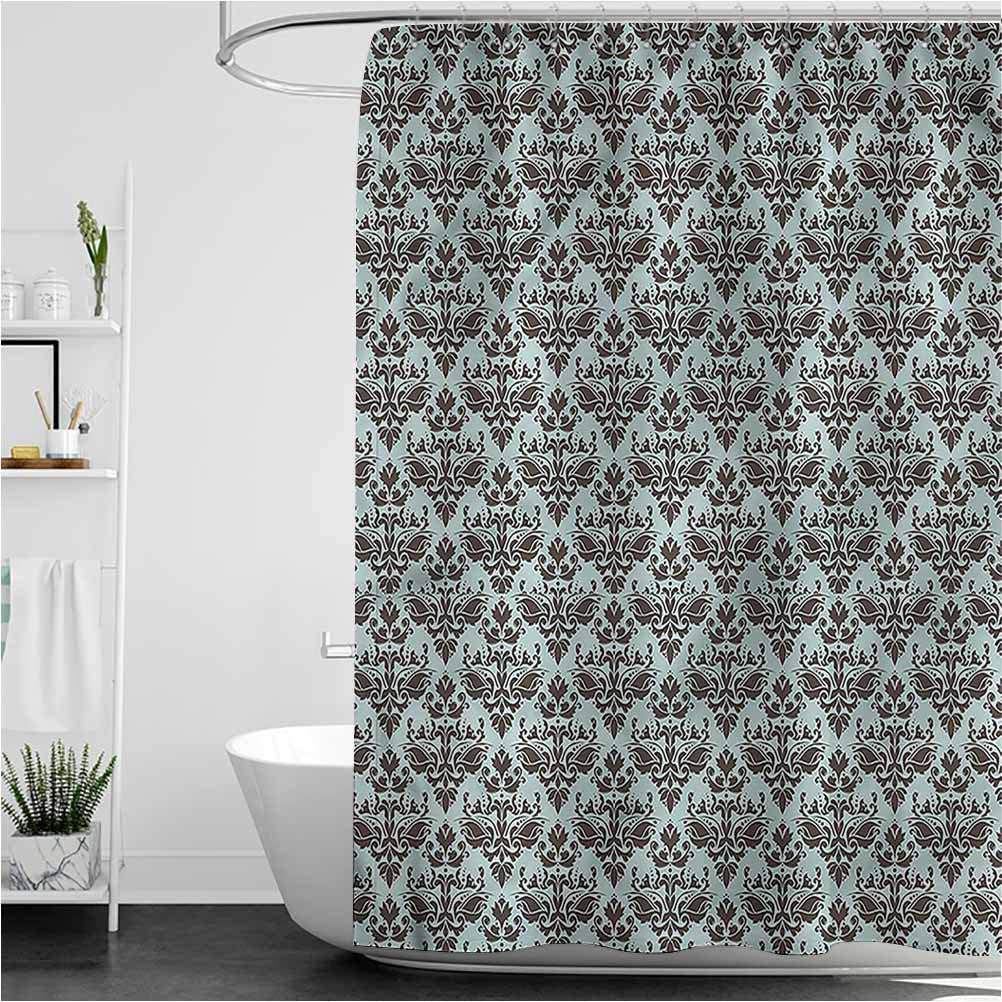 Damask Custom Shower Curtain Floral Victorian Retro Heavy Duty Fabric, Water Repellent Bathroom Curtain, 55 x 72 Inch