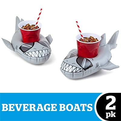 BigMouth Inc. Inflatable Super Chill Shark Floaring Drink Holder, Cup Holder Floats, 2-Pack, Great for Pool Parties: Toys & Games