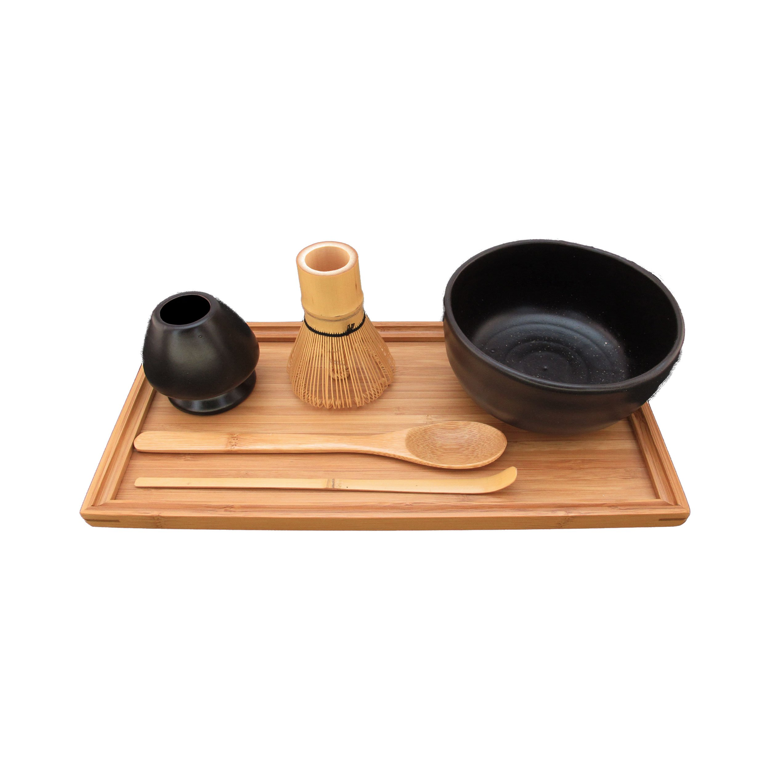 BambooMN Brand - Matcha Bowl Set (Includes Bowl, Rest,Tea Whisk, Chasaku, Tea Spoon & Tray) 1 Set Black by BambooMN
