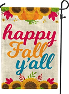 Hollyhorse Happy Fall Yall Garden Flag |12.5 x18 Inch Burlap Double Sided Vertical Outdoor Outside & Yard Flag - Autumn Sunflower Flag