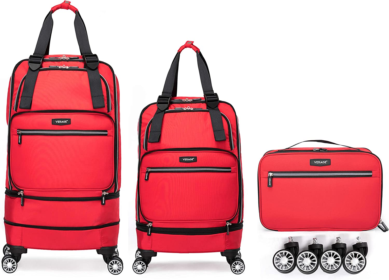 Foldable Luggage Bag with Spinner wheels,Expandable Collapsible Rolling Duffel Bag,Large Suitcase for Travel,Checked Luggage 24/28inches (2 in 1),Red