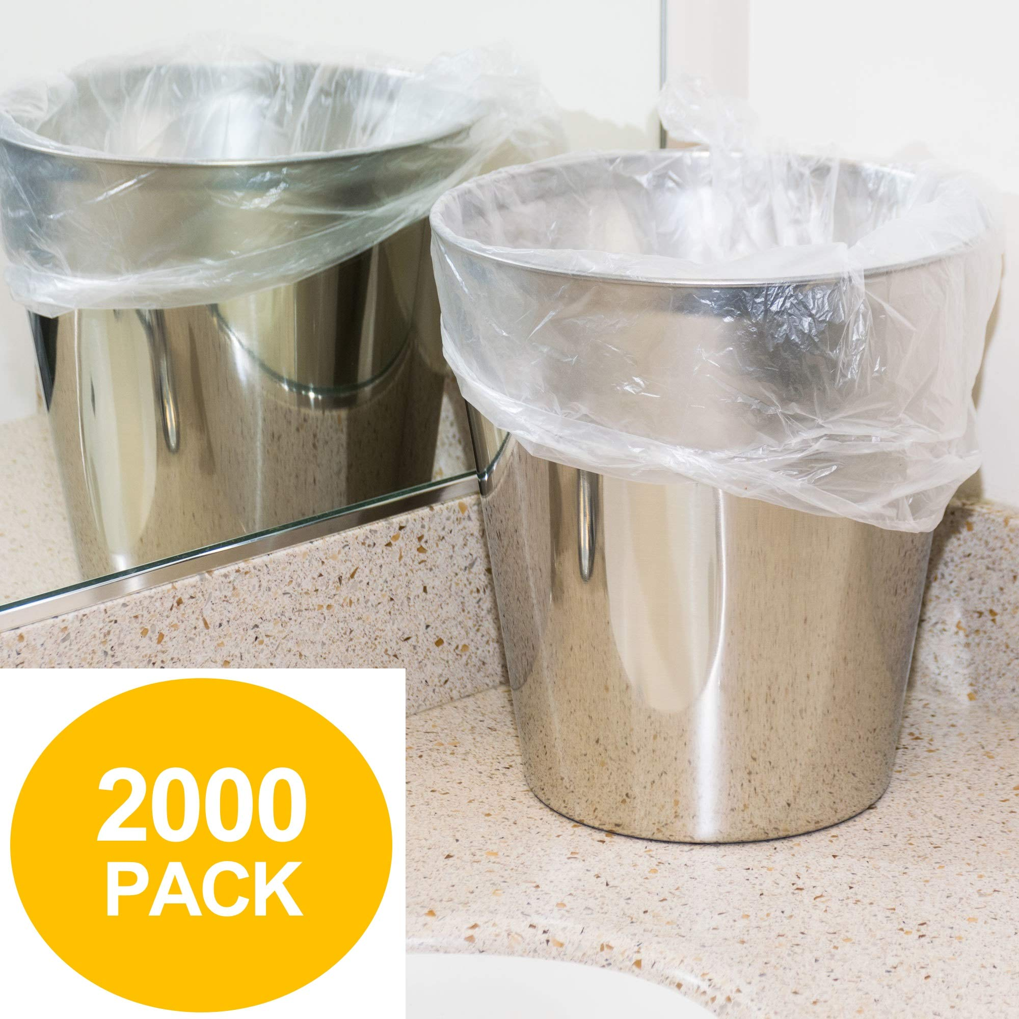 4 Gallon Trash Bags - 2000 Small Mini Garbage Bags | 17'' x 18'' Clear Waste Basket Trash Bags | Bulk Plastic Bathroom Trash Can Liners by Leano Line