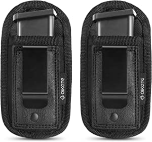 2 Pack Universal Magazine IWB Pouch Concealed Carry 9mm .40 .45 .380 .357, Mag Holster For S&W M&P Sig Sauer Ruger Glock, Fits Any 7 10 15 Round Clips All Pistols, Handgun Ammo Gun Ammunition Holsters