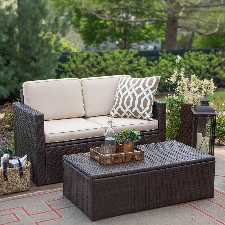 amazon com coral coast berea outdoor wicker storage coffee table