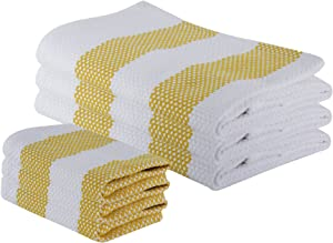 "The Weaver's Blend Set of 3 Kitchen Towels + 3 Dish Cloths, Basket Weave, 100% Cotton, Absorbent, Size 28""x18"" and 12'x12"", Yellow Stripe,Kitchen Towels and Dish Cloths"