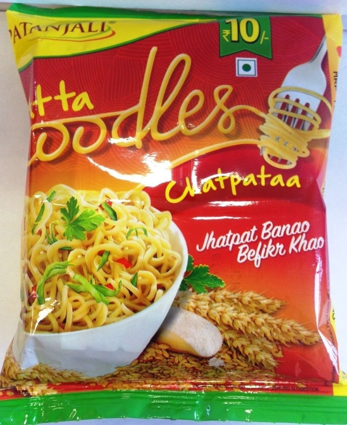 Patanjali Chatpata Atta(Wheat Flour) Noodles, 60g X 12 (720gms) by Patanjali