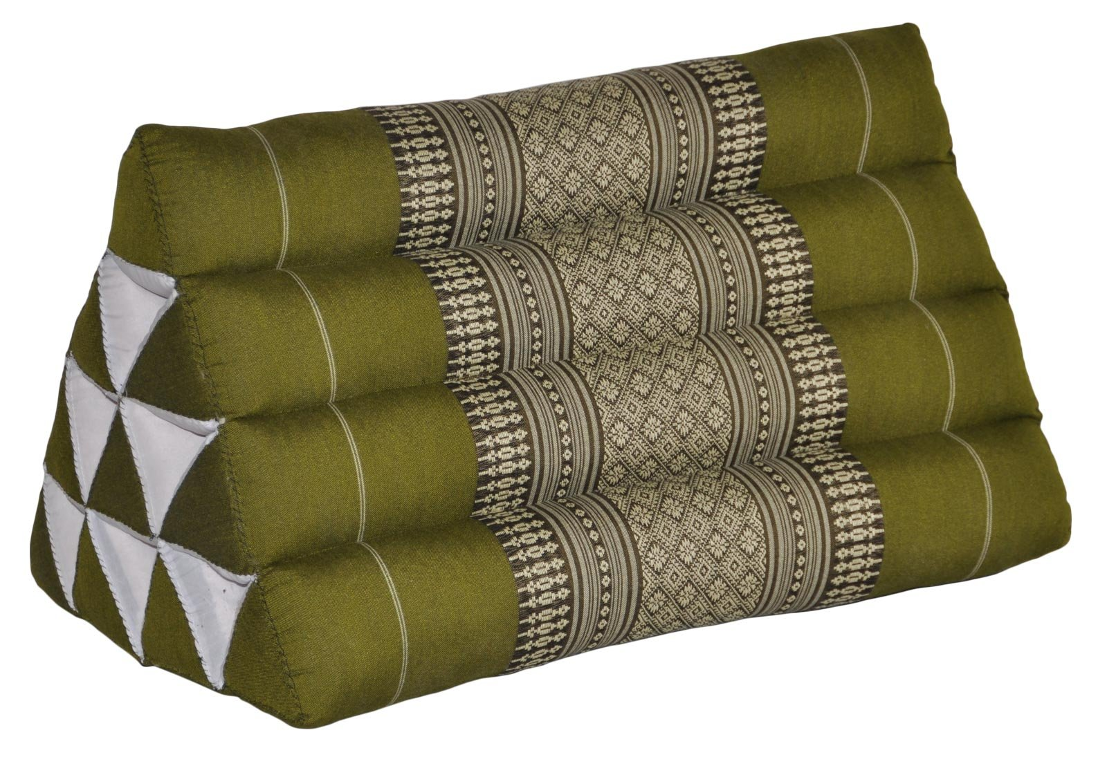 Thai triangular cushion, green, relaxation, beach, kapok, made in Thailand. (81800) by Wilai GmbH