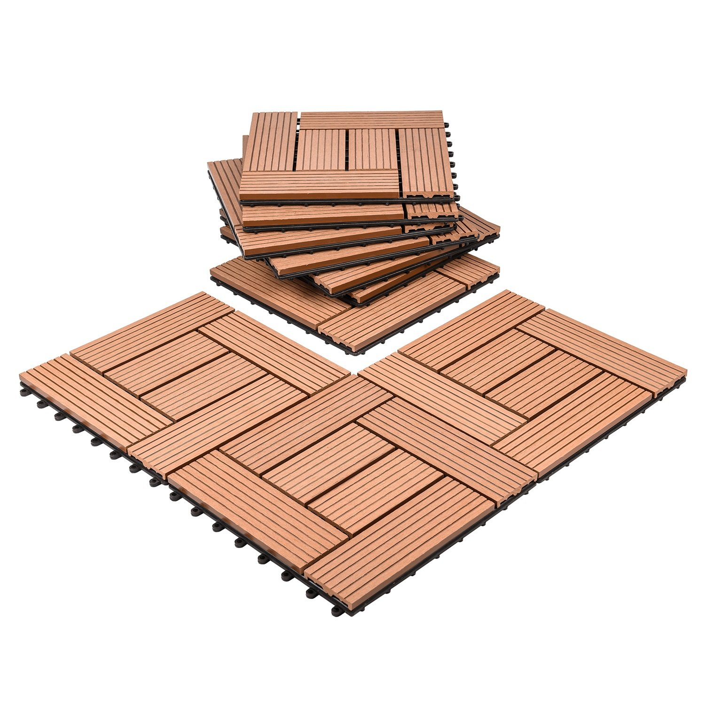 Composites Decking Flooring Solid Wood - Plastics Interlocking Flooring Deck Tile Windmill Pattern for Indoor and Outdoor (Set of 10)