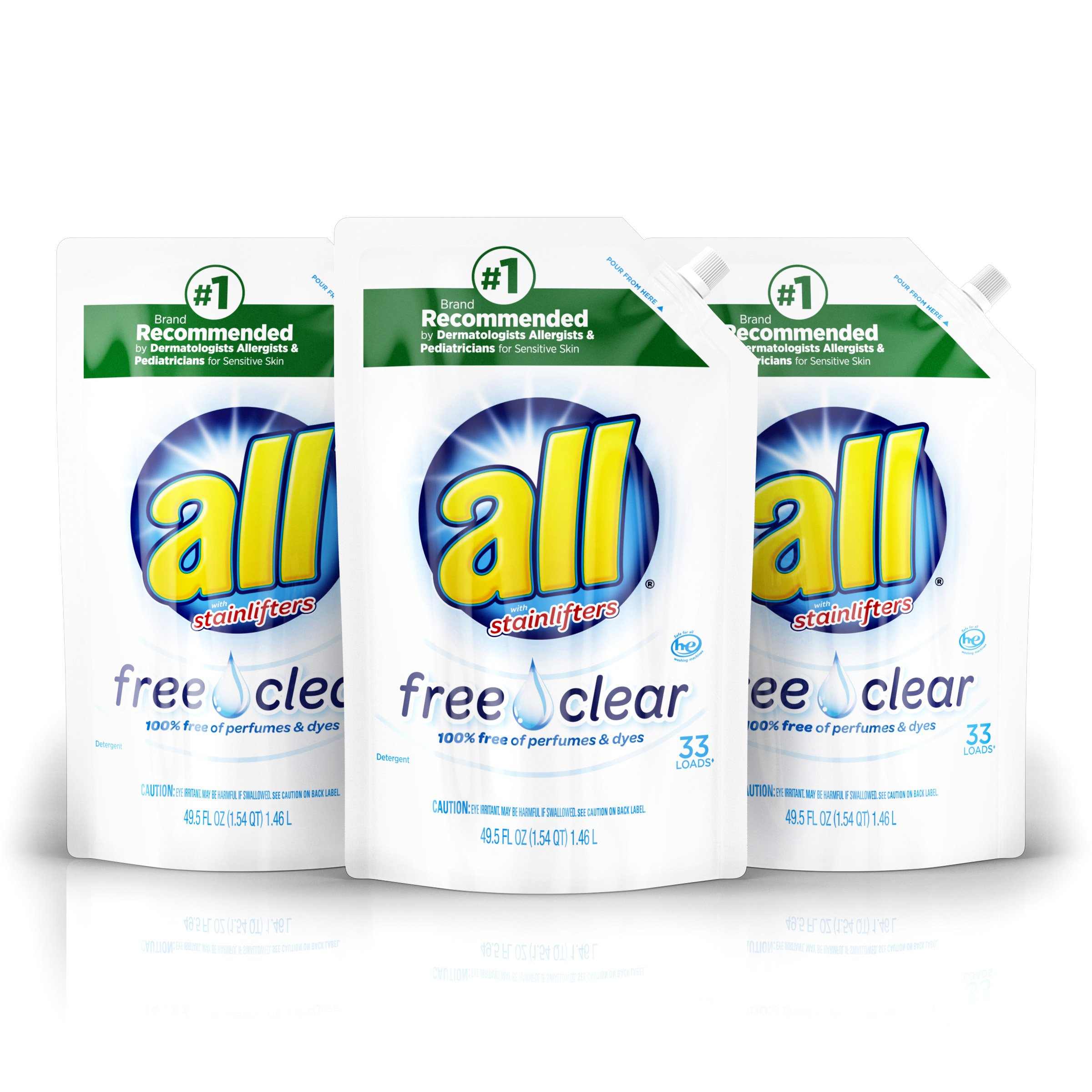 all Liquid Laundry Detergent Easy-Pouch, Free Clear for Sensitive Skin, 3 Count, 99 Total Loads by All