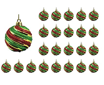 Festive Season 24pk 60mm Vintage Style Red Green Gold Christmas Tree Ball Ornaments