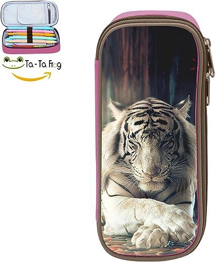 Estuche escolar para lápices de tigre blanco para niños, bolsa para bolígrafos: Amazon.es: Oficina y papelería