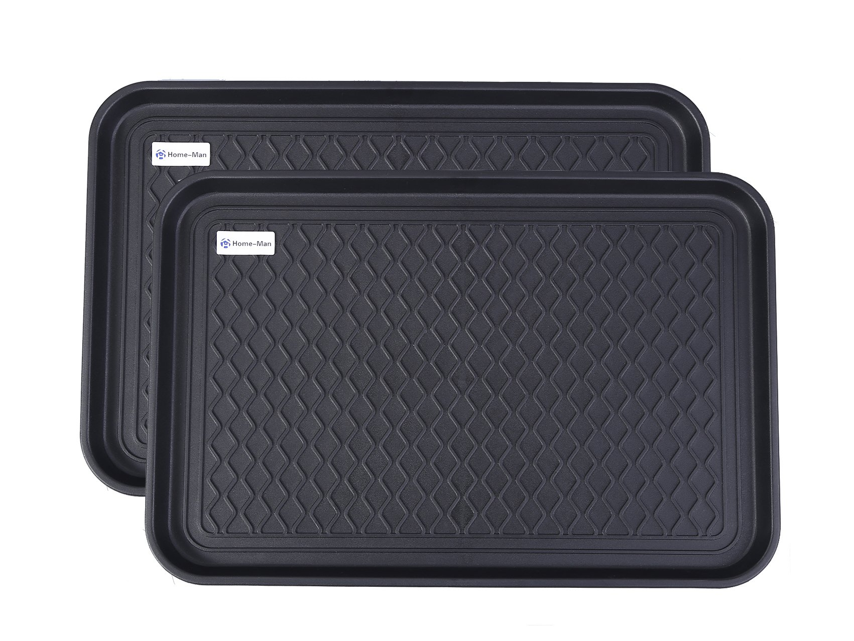 Home-Man Multi-Purpose Boot Tray Mat,Shoe Tray Mat,Pet Bowl Tray,Waterproof Trays for Indoor and Outdoor Floor Protection, 24'' x 15''/2 Pack by Home-Man