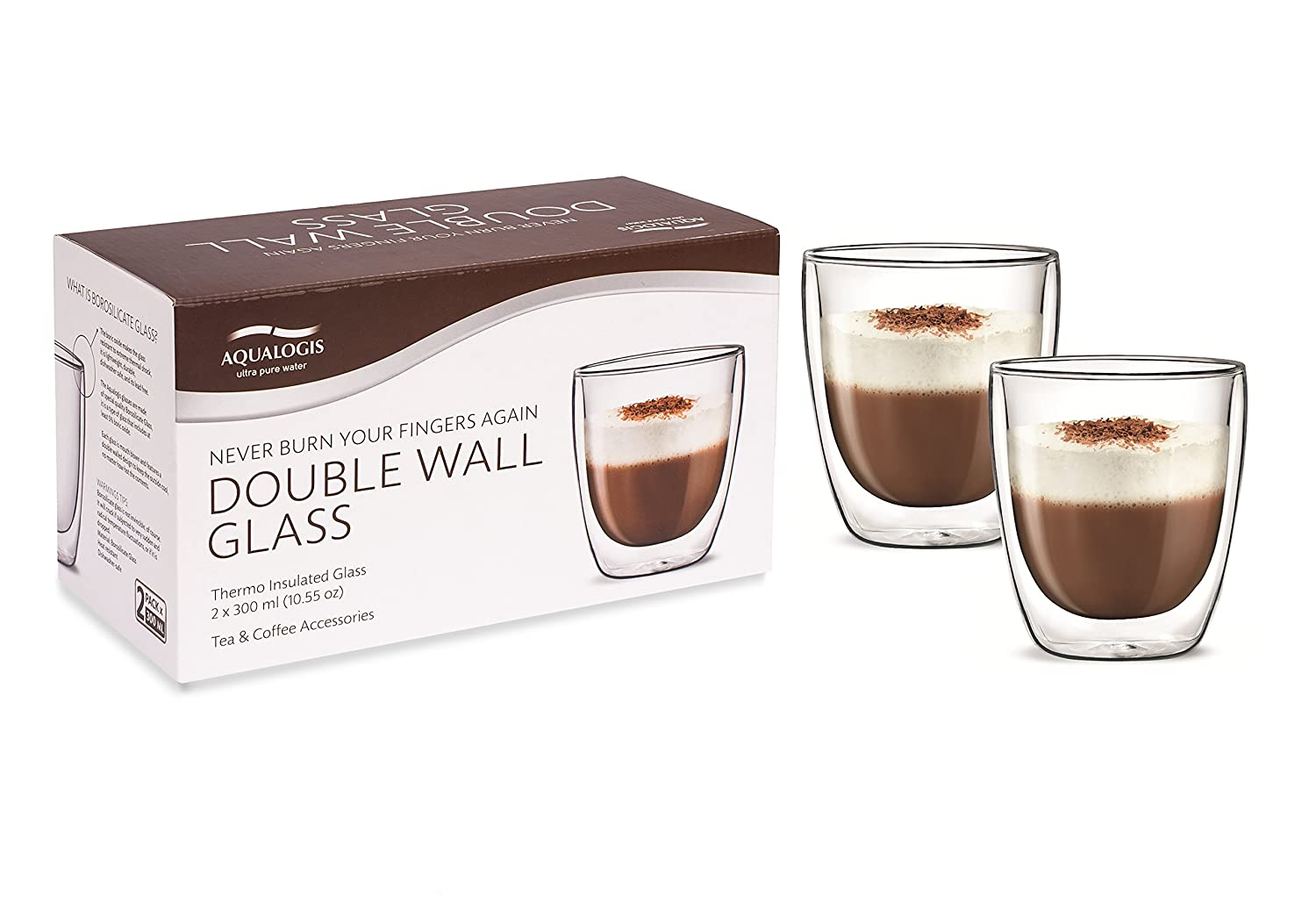 Aqualogis Double Wall Thermo insulated Glass - Cappuccino Coffee & Tea 300 ml, Set of 2