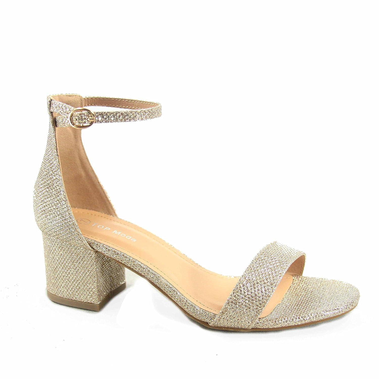 c5f39408cfe TOP Moda Darcie-1 Women's Fashion Ankle Strap Chunky Low Heel Dress Sandal  Shoes