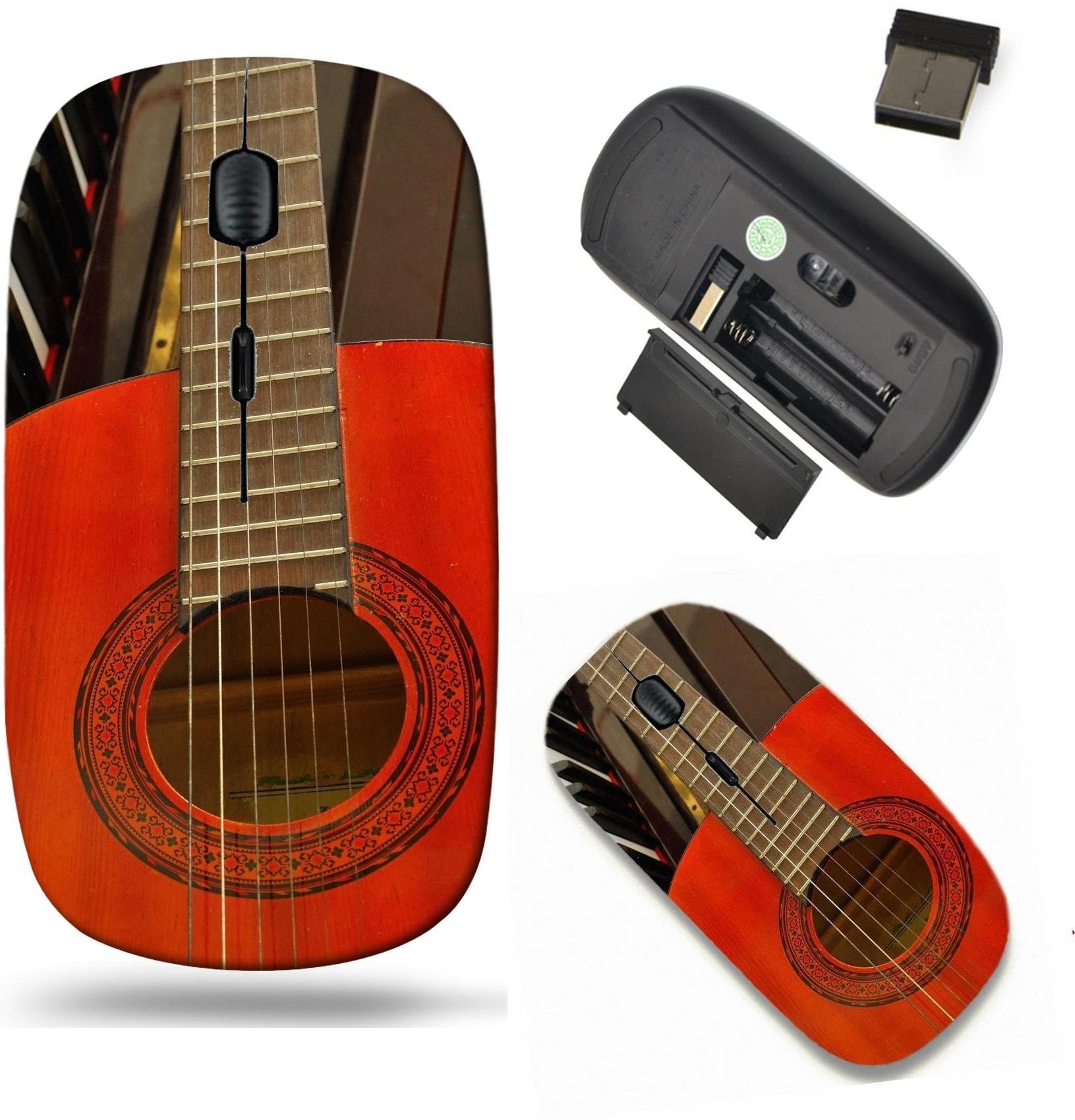 Liili Wireless Mouse Travel 2.4G Wireless Mice with USB Receiver, Click with 1000 DPI for notebook, pc, laptop, computer, mac book Acoustic guitar on piano keyboard For concepts like music composition