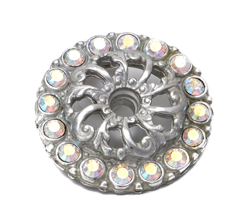 Carpe Diem Hardware 884-24AB Cache  with Sml Round Escutcheon Made with Swarovski Crystals, Platinum