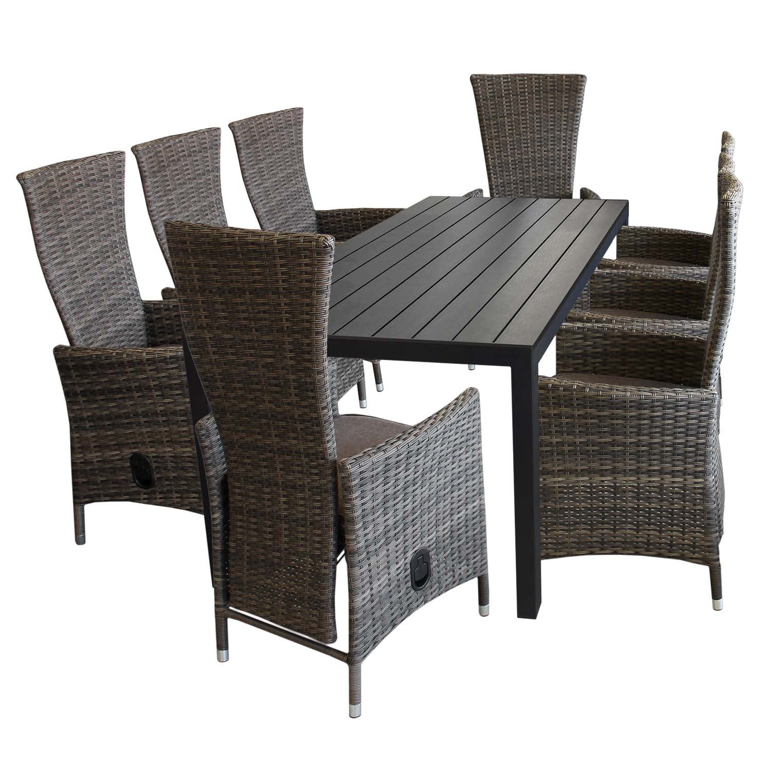 9tlg gartenm bel set aluminium polywood gartentisch 205x90cm 8x gartensessel polyrattan braun. Black Bedroom Furniture Sets. Home Design Ideas