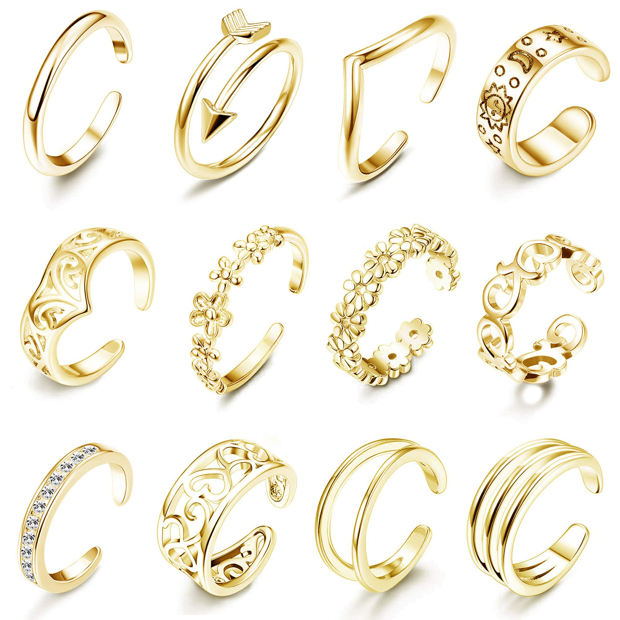 LOLIAS 12Pcs Open Toe Rings for Women Girls Arrow Adjustable Toe Band Ring Gifts Jewelry Set,Gold by LOLIAS