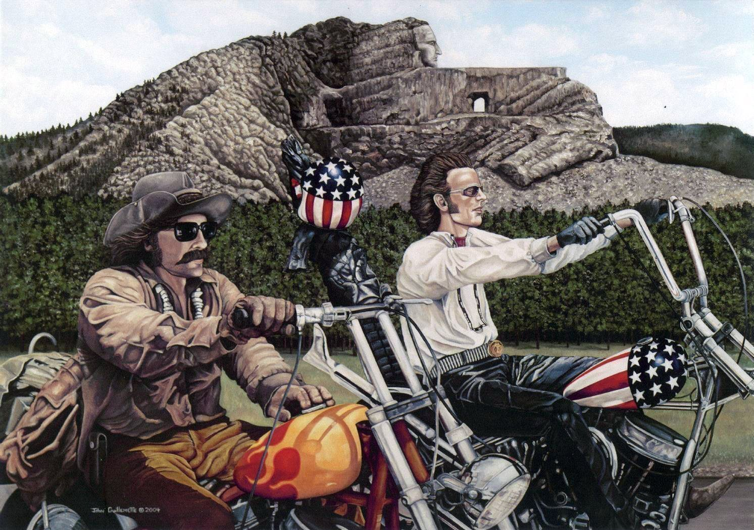 Easy Rider theme Biker Wall Art, 18x24 Motorcycle Art Print, Hand Signed by Artist, Sturgis, Crazy Horse Monument, Custer South Dakota - Original Painting by Guillemette